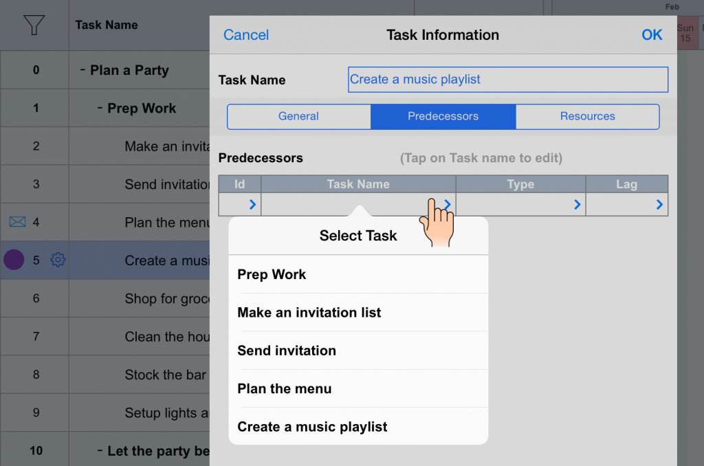 Add Dependency - Edit Task View - Project Planning Pro