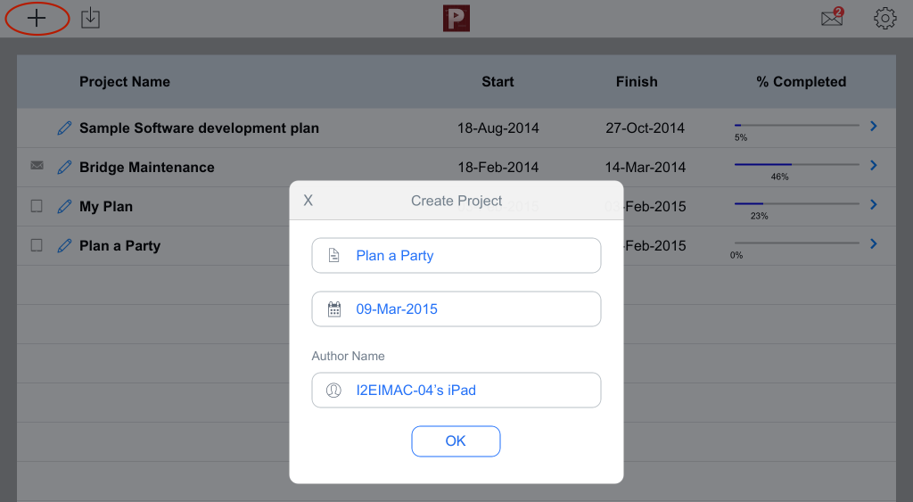 Create new project - Project Planning Pro